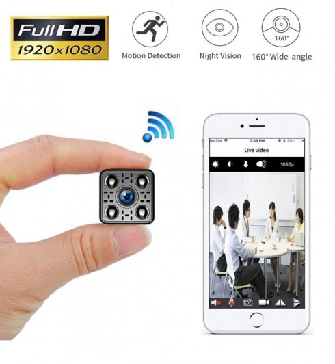 Mini Full HD WiFi camera with 160° angle + motion detection + IR LED