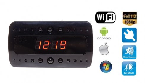 Wifi alarm clock Full HD Camera + 10 IR LED + Motion Detection + AC/DC power supply