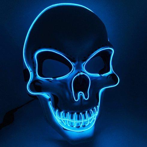 Svítící maska na obličej LED - Skull modrá