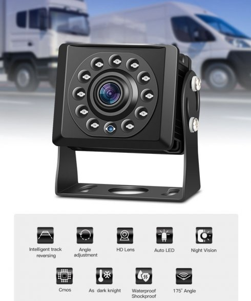Mini reversing HD camera with night vision 15m - 11 IR LED and IP68 protection