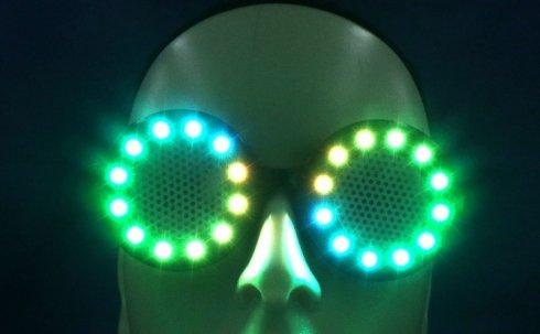 แว่นตา Cyberpunk แบบกลม LED สี RGB + รีโมทคอนโทรล