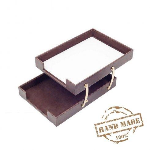 Zásobník na dokumenty dvojitý luxusný kožený + zlaté doplnky (Ručná výroba)