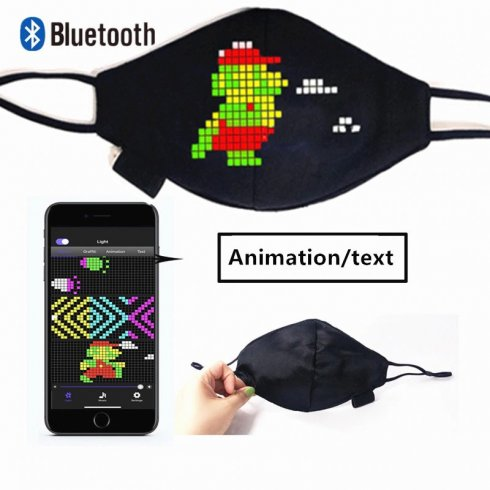 Smart roušku na obličej - LED programovatelné 170x70mm Bluetooth (Android / iOS)
