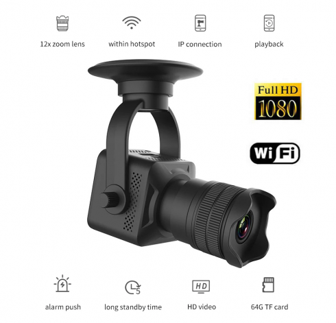 Mini telecamera spia con ZOOM 12x con FULL HD + WiFi (iOS / Android)