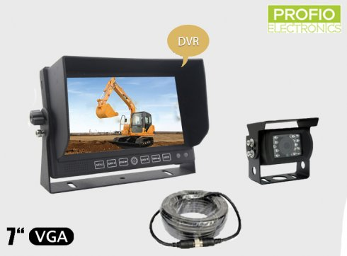 "Reversing set DVR 7"" LCD monitor with recording + 1x waterproof camera with 150° angle"