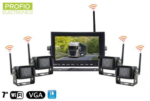 "Reversing car camera set - 7"" LED WiFi monitor + 4x wireless camera"