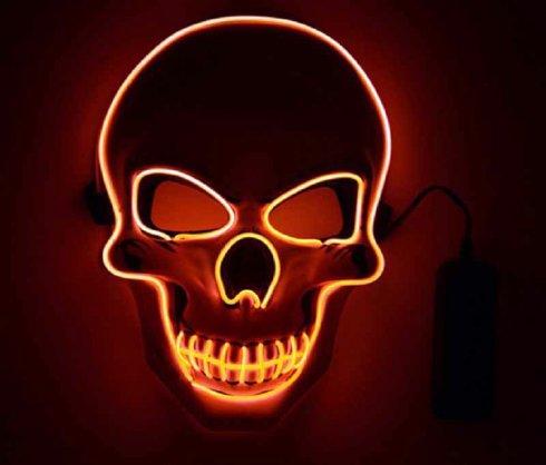 Migająca maska LED CZASZKA - czerwona
