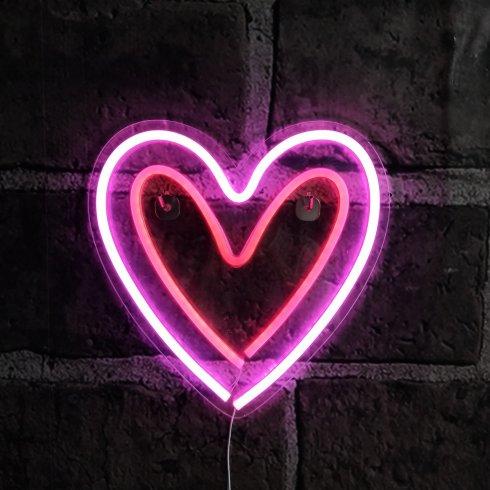 Розовый неоновый знак загорается - Сердце