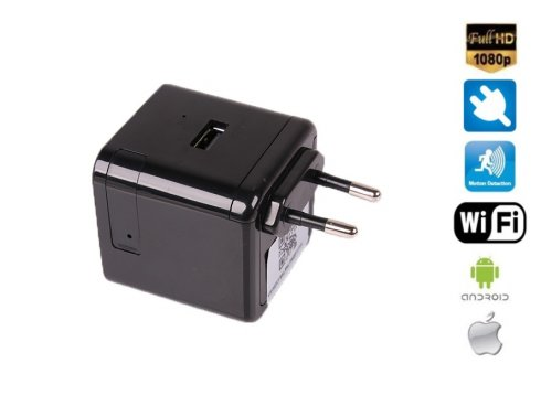 Adapter AC / DC USB z kamerą FULL HD + WiFi + Night Vision + obsługa 128 GB pamięci micro SD