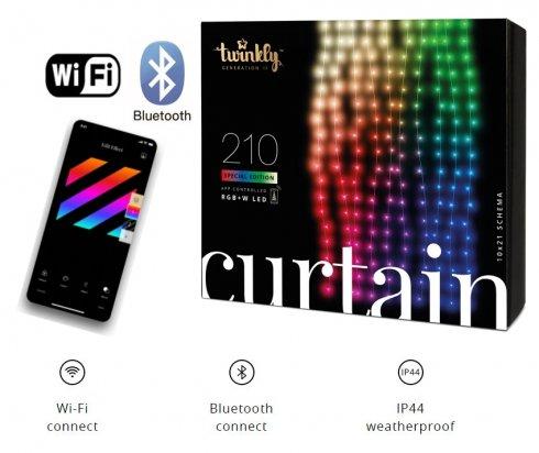 Smart LED světelný závěs 1,5m x 2,1m - Twinkle Curtain s 210 ks RGB + W + BT + Wi-Fi