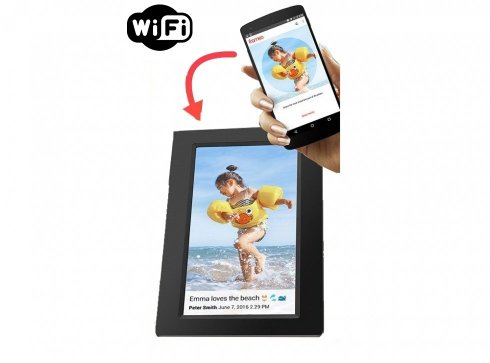 "Digital touch photo frame with WiFi - 7"" display + 8GB memory and mobile app control"