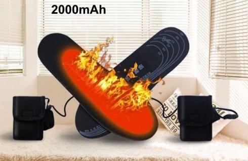 Vyhrievané vložky do topánok veľkosť EUR 36-46 (elektrické termo) s 2000mAh batériou