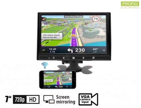 "7"" Mirror Link WiFi LCD monitor do auta multifunkčný - VGA,HDMI aAV vstup pre 2 kamery"