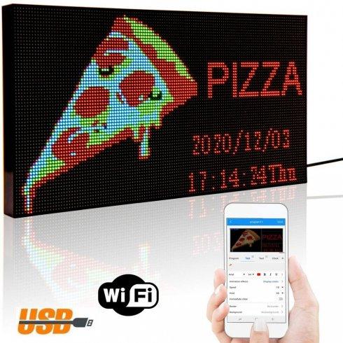 Programovatelná WiFi LED světelná tabule RGB barevná - 20x39cm se stojanem
