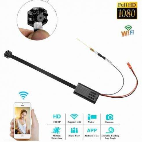 Пінхол-камера 1080P з ВК-святлодыёдам + батарэя 4000mAh і дэтэктарам руху 6м + WiFi / P2P