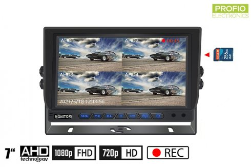 """Hybrid 7"""" car monitor: 4-CH, AHD/CVBS with micro SD card recording (up to 256 GB) for 4 cameras"""