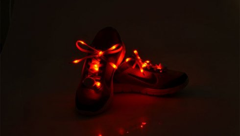 Party shoe laces LED - red