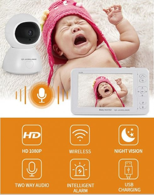 "SET wireless per telecamera per tata - LCD 4,3 ""+ video baby cam monitor 1080p con LED IR"
