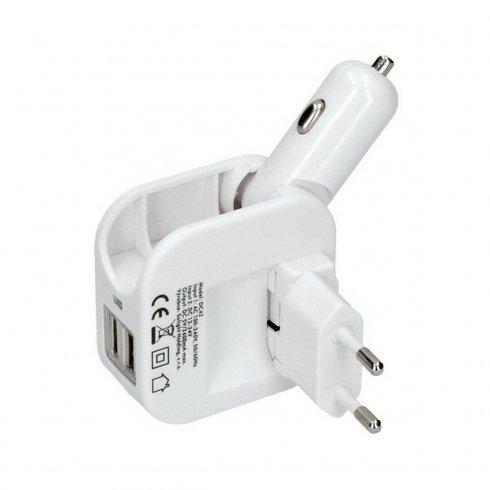 Univerzálny USB adaptér do auta aj do siete 5V2400mA +2xUSB