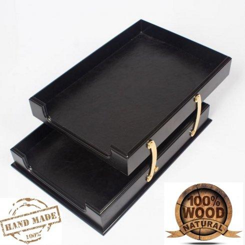 Organizator pladnja za papir lesena črna barva + usnje + zlati dodatki