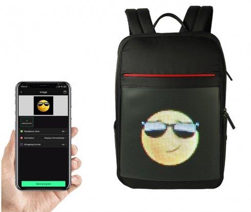 Sac à dos intelligent LED animation ou texte programmable avec affichage LED 24x24cm (contrôle via smartphone)