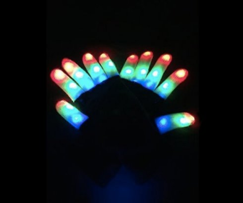 Flashing party gloves - white and black