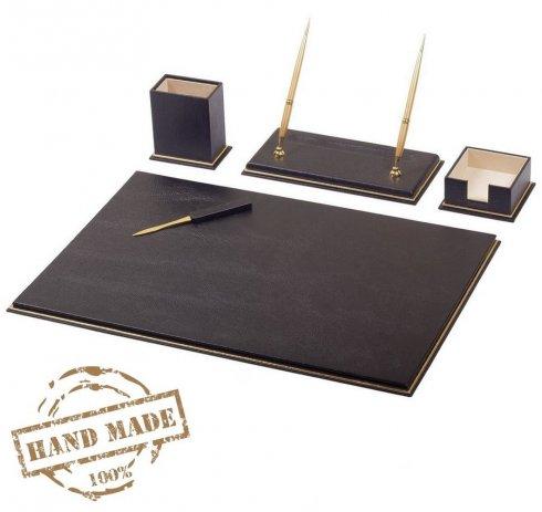Deluxe kožený SET 7 doplnkov na pracovný stôl - čierna a zlatá koža (100% Ručná výroba)