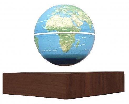 """Vznášející se svítící globus velký až 8 """"+ podstavec imitace dřeva"""
