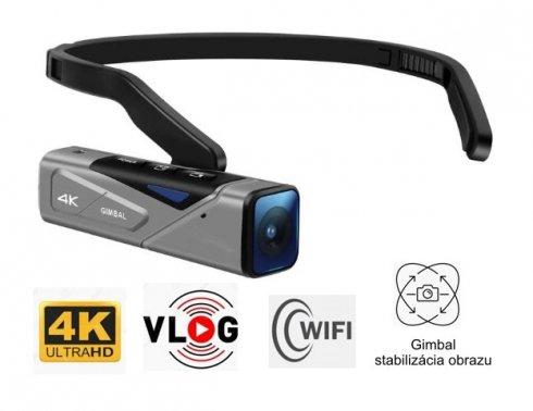 Kamera POV 4K do vlogowania lub sportu + stabilizator obrazu GIMBAL + WiFi + wodoodporność IP65