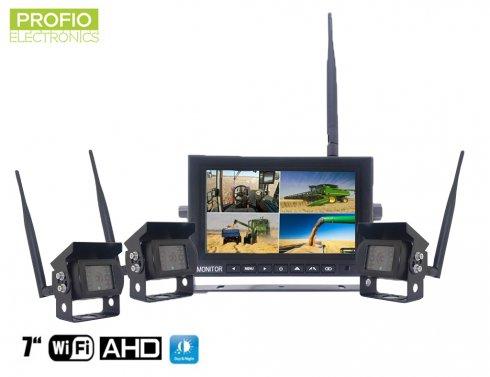 """Telecamera per la retromarcia con display wireless AHD WiFi SET 1x monitor AHD 7 """"+ 3x videocamera HD"""