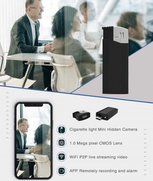 Lżejsza kamera - ukryta kamera szpiegowska FULL HD + WiFi + P2P + detekcja ruchu + światło LED