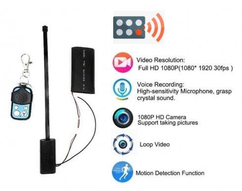 Пінхол-камера Full HD з пультом дистанційного керування + акумулятор 2500mAh + виявлення руху