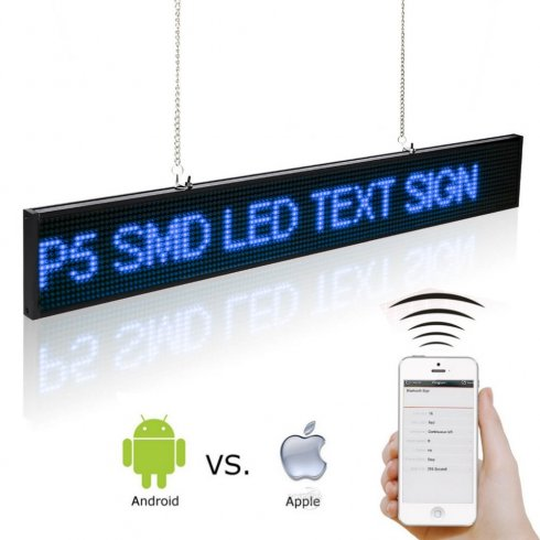 Pannello pubblicitario a LED con WiFi - 50 cm con supporto iOS e Android - blu