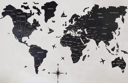 Wooden world map on the wall - color black 200 cm x 120 cm