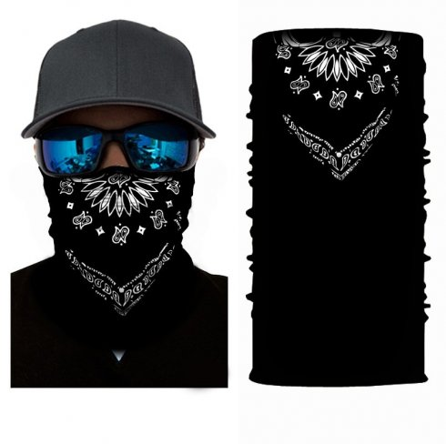 Multifunctional scarf for face or head - BLACK COWBOY