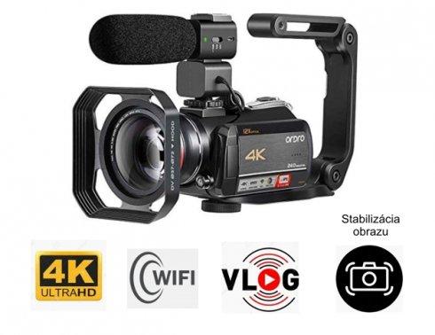 4K videokamera Ordro AC5 s optickým zoomom 12x, WiFi + makro objektív + LED svetlo + kufrík (FULL SET)