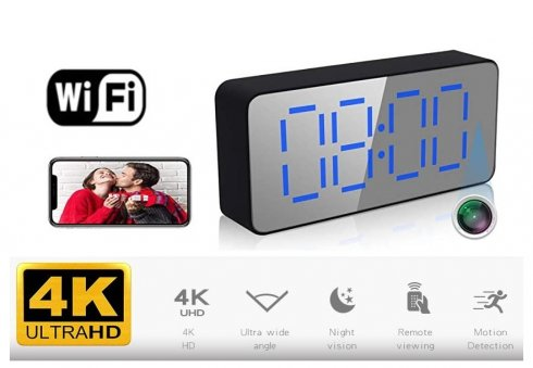 4K WiFi P2P camera hidden in the alarm clock + motion detection + night vision + Shooting angle up to 140°