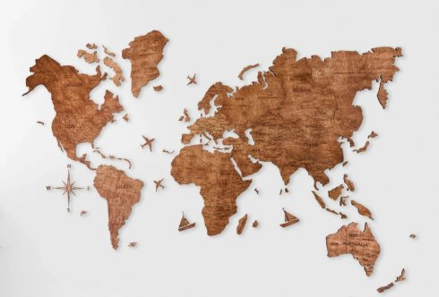Wall painting of World map - color oak 200 cm x 120 cm