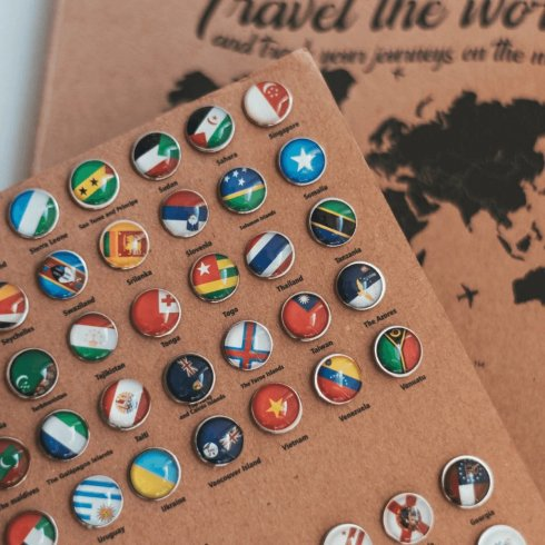 Push pins for wooden maps - FLAGS of countries 273 pcs