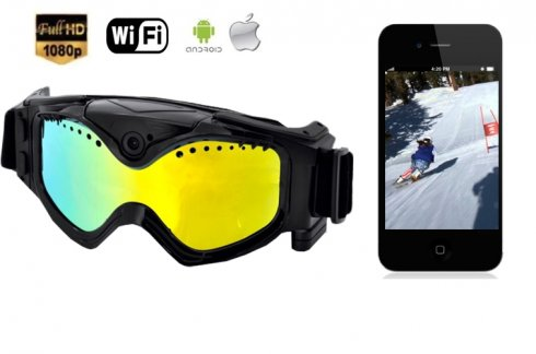 Lyžiarske okuliare s kamerou FULL HD a UV filtrom + WiFi