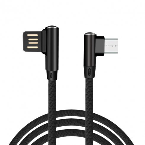 Micro USB cable with 90° design of connector and 1 m length