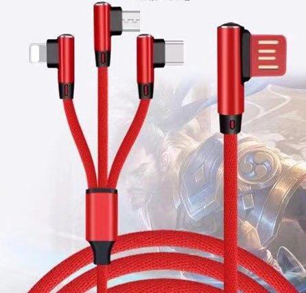 コネクタの90°デザインのニット3V1充電ケーブル - マイクロUSB、Lightning、長さ1.5mのUSB-C