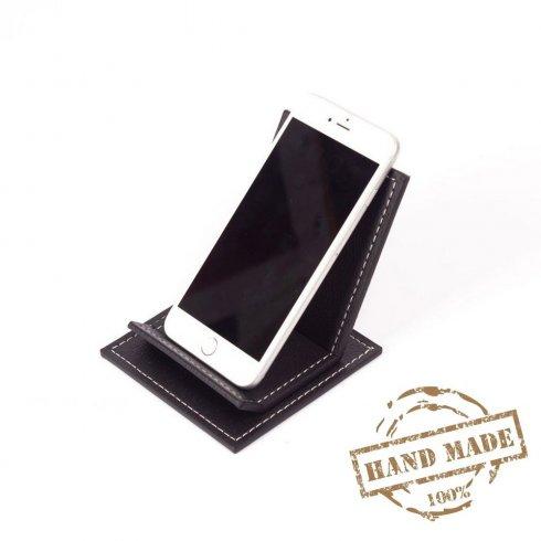 Мобилна стойка - луксозна кожена поставка за смартфон черен цвят