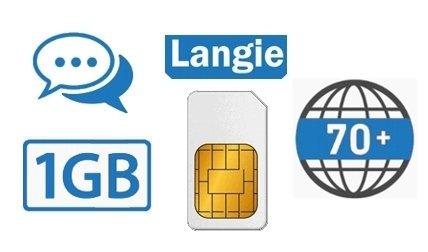 LANGIE doładowania karta SIM z 1 GB danych do tłumaczenia w 70 krajach na całym świecie