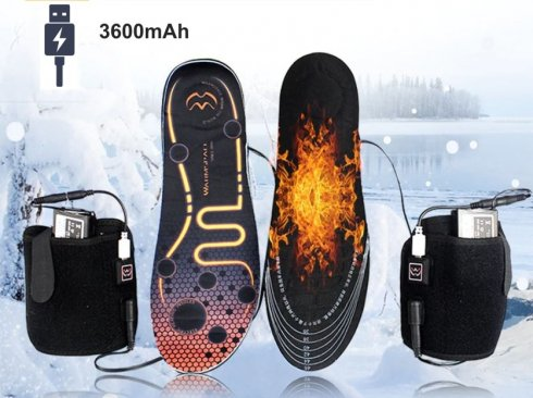 Heated insoles thermal - shoe size EUR 36-46 (3 heating levels) with 3600mAh battery