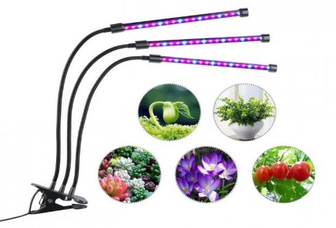 LED grow lights with triple head for 27W growth support (9x3W)