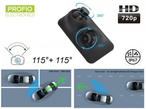 Dual rotating mini HD reversing rearview camera with IP68 protection + 115° angle