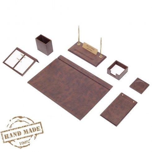 Komplet pisarniške mize 9 kosov - luksuzno usnje (rjavo usnje - ročno izdelano)