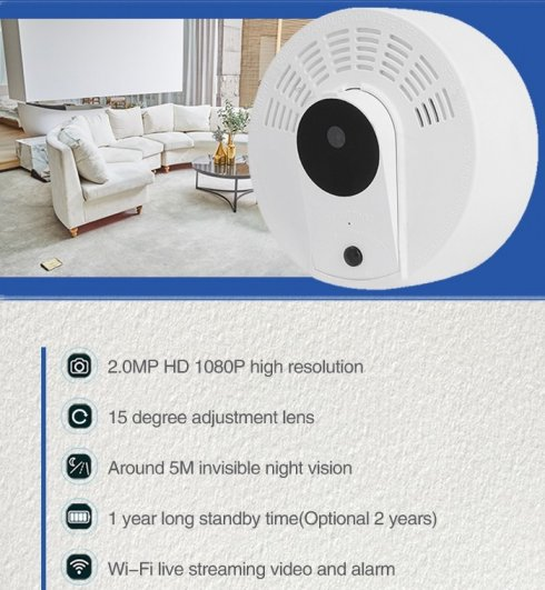 Kamera im FULL HD Rauchmelder versteckt + 1 Jahr Akkulaufzeit + IR LED + WiFi + Bewegungserkennung