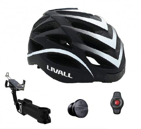 Cyklistiský set - helma na kolo Livall BH62 + multifunkční nástavec s PowerBank 5000mAh + nano snímač rychlosti